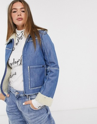 Pepe Jeans Saffie shearling collar denim jacket