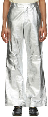 Gucci Silver Metallic Leather Flared Trousers