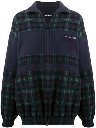 Balenciaga Zip-Front Check Fleece