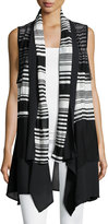 Alberto Makali Sleeveless Striped Chiffon-Hem Cardigan, Black/White
