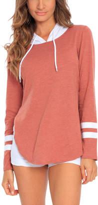 Miami Style Women's Sweatshirts and Hoodies Rust/White - Rust & White Split-Hem Varsity Stripe Hoodie - Women