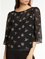 Somerset by Alice Temperley Daisy Embroidery Top, Black Mix