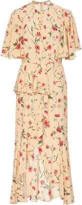 Michael Kors Ruffled Floral-Print Silk-Crepe Midi Dress