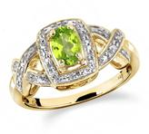 1/2 CT TW Peridot Yellow Silver Halo Ring with Diamond Accents by JewelonFire