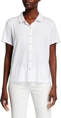 Eileen Fisher Petite Collared Short-Sleeve Jersey Shirt