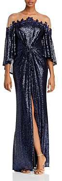 Tadashi Shoji Sequin Illusion-Neckline Capelet Gown