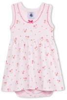Petit Bateau 2 In 1 Baby Girl Sleeveless Flower Print Bodysuit-Dress
