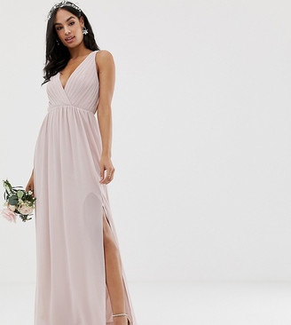 TFNC bridesmaid exclusive pleated maxi dress with back detail in taupe-Brown