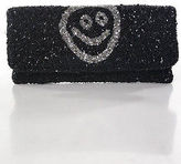 Moyna Black Silver Smiley Face All Over Beaded Clutch Handbag