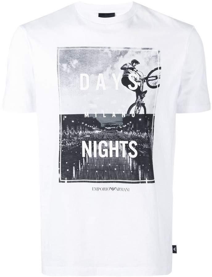 Emporio Armani Milano Days & Nights print T-shirt