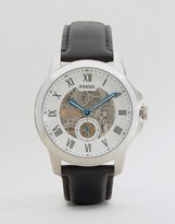 Fossil Grant Mechanical Leather Watch In Black