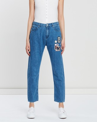Love Moschino Denim Jeans with College Decoration