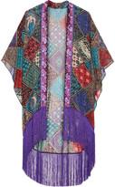 Anna Sui Bird Of Paradise Fringed Printed Silk-chiffon Kimono - Purple