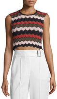 A.L.C. Leo Sleeveless Zigzag Crop Top, Army/Primrose/Black