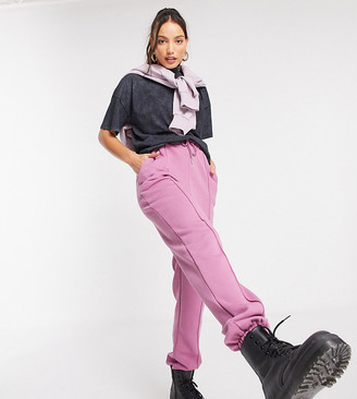 Asos Tall ASOS DESIGN Tall oversized sweatpants with pintuck in berry