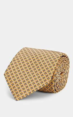 Brioni Men's Diamond-Dot-Pattern Silk Satin Necktie - Yellow