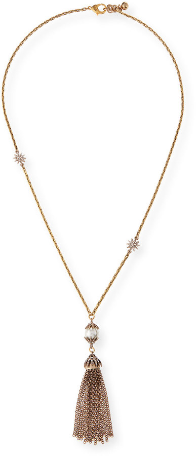 Lulu Frost Electra Pearly Crystal Tassel Necklace