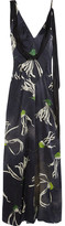 Miu Miu Printed Silk-satin Gown - Navy