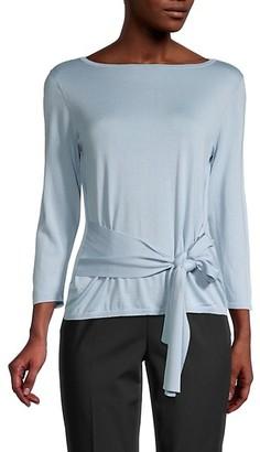 Lafayette 148 New York Tie-Front Silk Cotton Sweater