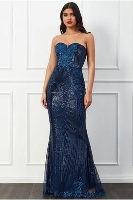 Goddiva Stephanie Pratt Sweetheart Neckline Sequin Embroidered Maxi Dress - Navy