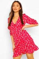 boohoo Floral Print Wrap Tea Dress