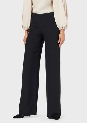 Giorgio Armani Palazzo Trousers In Silk Blend Cady