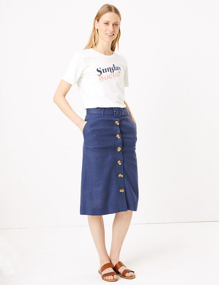 Marks and Spencer Linen Button Front Belted Midi A-Line Skirt