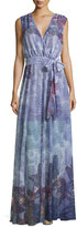 Alberto Makali Butterfly-Print Maxi Dress, Blue/Multi