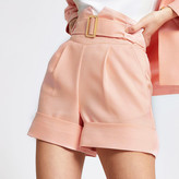 River Island Coral high corset belted waist shorts