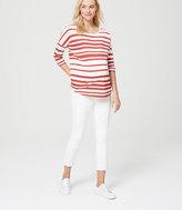 LOFT Petite Maternity Kick Crop Jeans in White