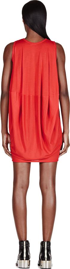 Alexander McQueen Red Draped Knit Dress