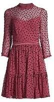 Rebecca Taylor Women's Velvet Polka Dot Silk-Chiffon Long-Sleeve A-Line Dress - Size 0