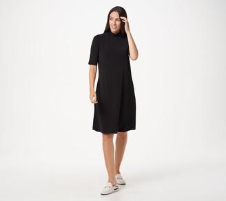 Susan Graver Liquid Knit Mock-Neck Elbow-Sleeve Dress