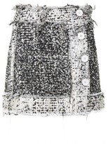 Christopher Kane Button-front lamé-tweed mini skirt