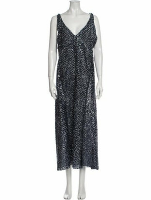 Roland Mouret V-Neck Long Dress w/ Tags Blue