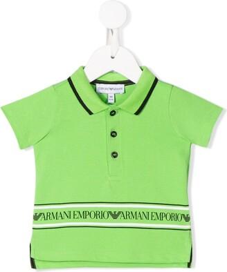 Emporio Armani Kids short sleeve logo stripe polo shirt