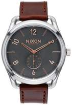 Nixon 'The C45' Leather Strap Watch, 47mm
