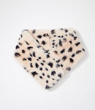 LOFT Leopard Print Faux Fur Pull Through Scarf