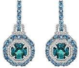 """Judith Ripka Women's """"Casablanca"""" 925 Sterling Silver Octagon Swiss Blue Topaz Pave Hoop Earrings"""