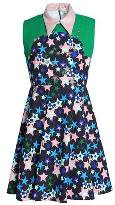 DELPOZO Appliqued Printed Cotton-neoprene Mini Dress