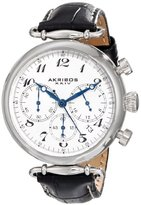 Akribos XXIV Women's AK630BK Retro Silver-Tone Stainless Steel Black Leather Strap Watch