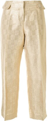 Christian Dior Pre-Owned Metallic Threading Cropped Trousers