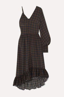 Rokh One-sleeve Ruffled Checked Silk Crepe De Chine Maxi Dress - Midnight blue