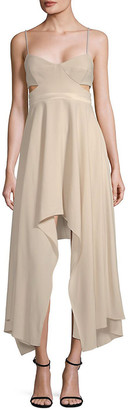 Halston Cut-Out Sweetheart Midi Dress