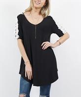 42pops 42POPS Women's Tunics BLACK - Black Crochet-Accent V-Neck Curved-Hem Hi-Lo Tunic - Women & Plus