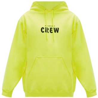 Balenciaga Crew-print Cotton-jersey Hooded Sweatshirt - Green