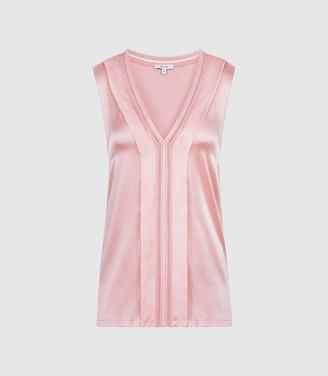 Reiss Chelsea - Silk Blend V-neck Top in Pink