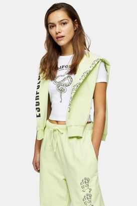 Topshop PETITE Snake California T-Shirt in White