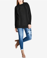 City Chic Trendy Plus Size Studded Sweater
