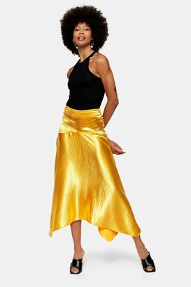 Topshop Womens Metallic Satin Asymmetric Skirt - Marigold